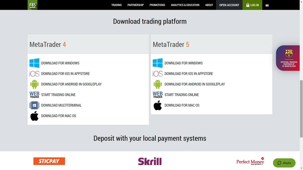 fbs account opening platforms and deposits