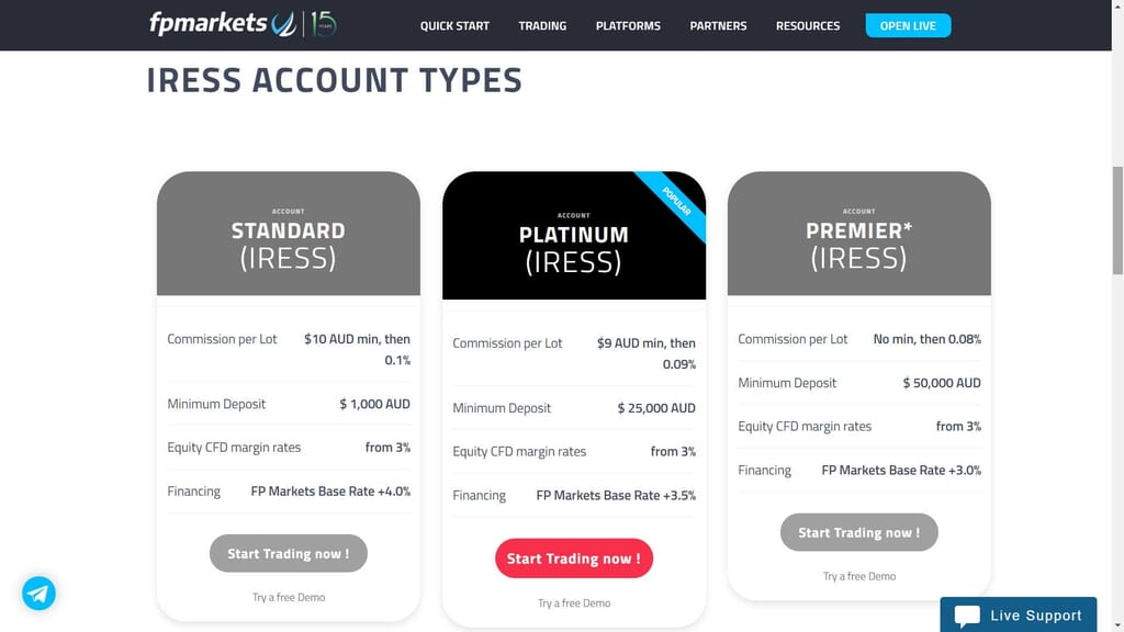 fp markets iress account types webpage