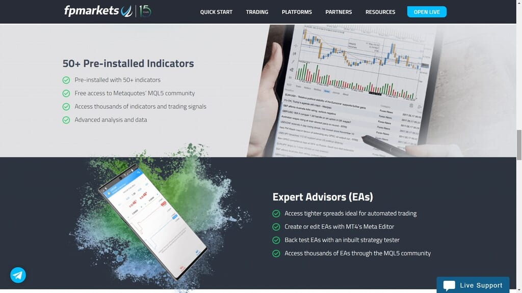 fp markets platform features webpage