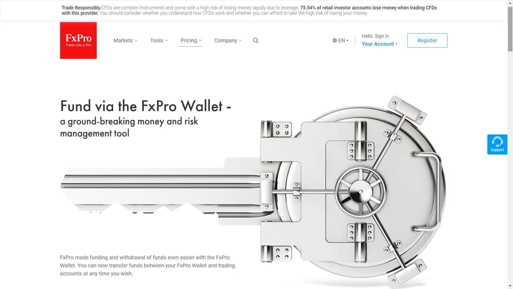fxpro wallet features