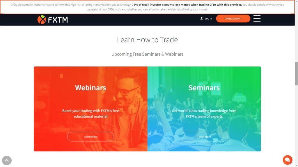 fxtm forex training services webpage