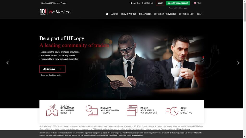 hf copy trading service features