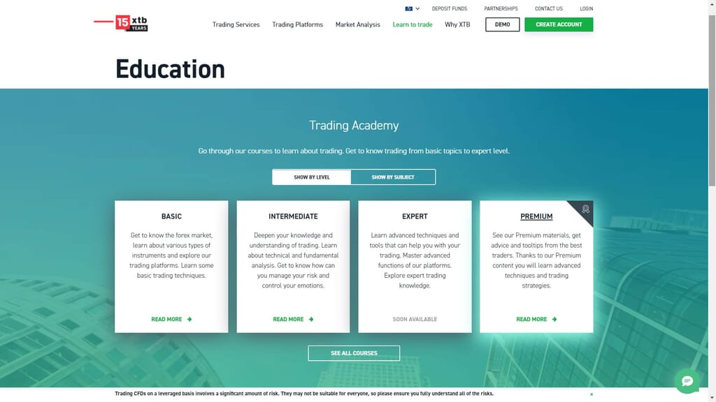 xtb education section on the xtb website