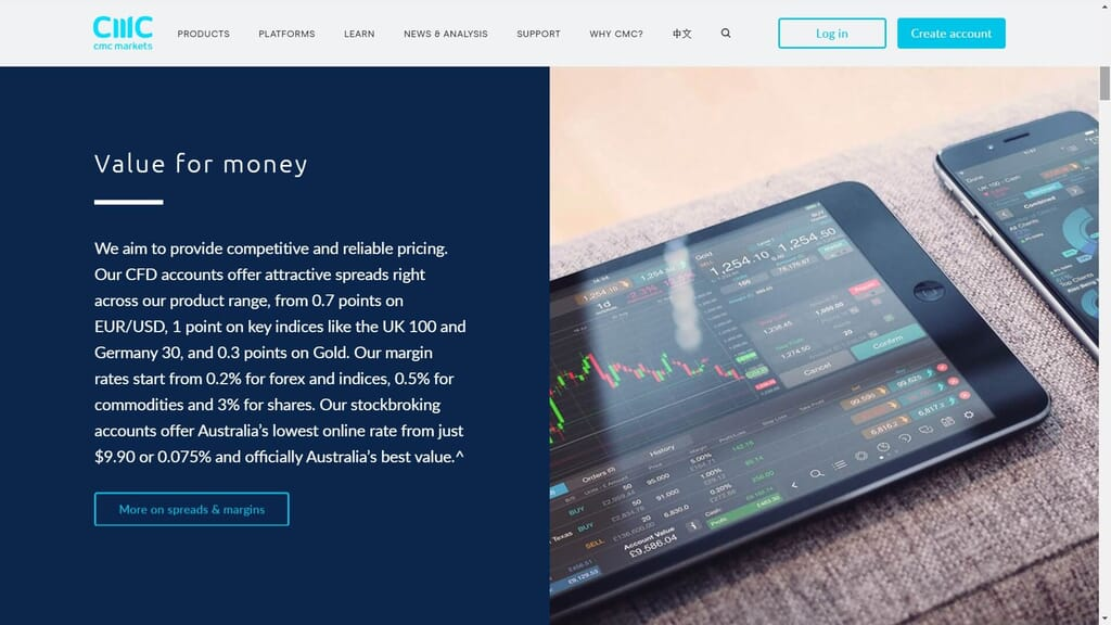 cmc markets commissions webpage