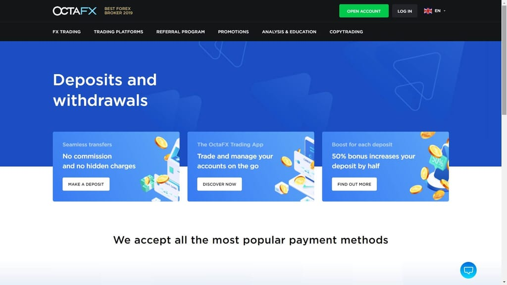octafs deposits and withdrawals webpage