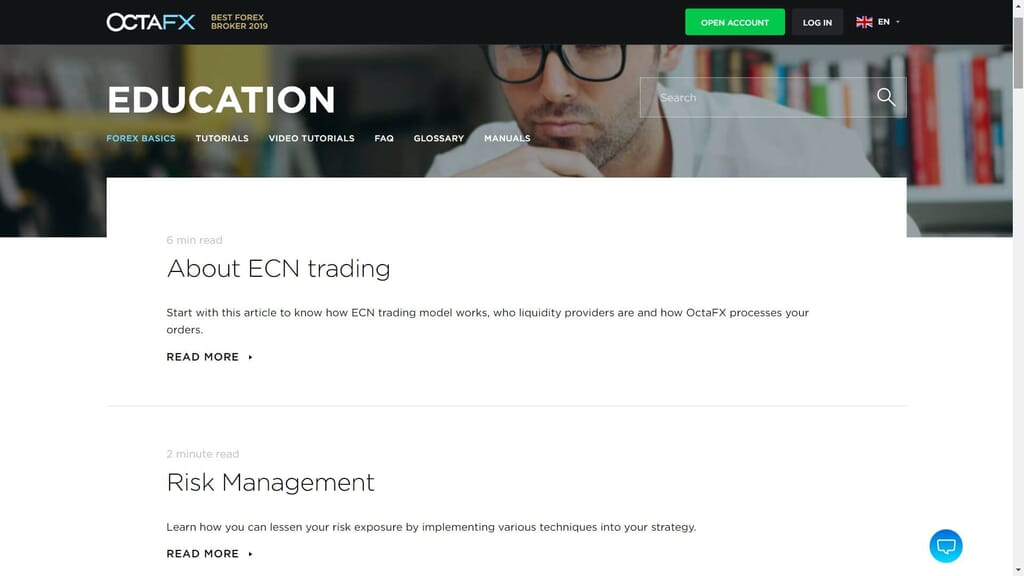 education section on the octafx website