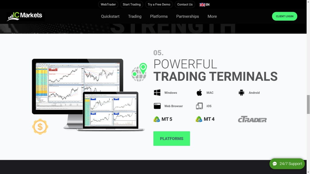 ic markets trading terminals available
