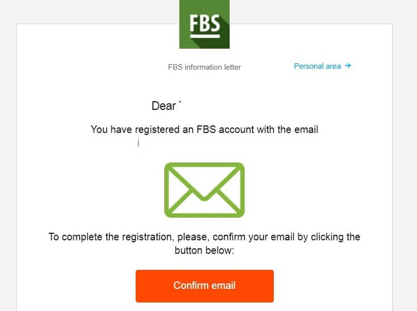 FBS demo account confirm email