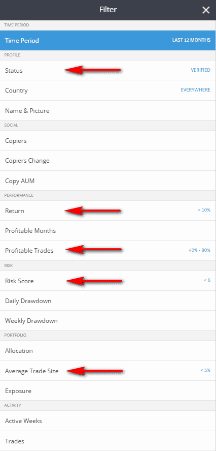 filters to find best etoro traders