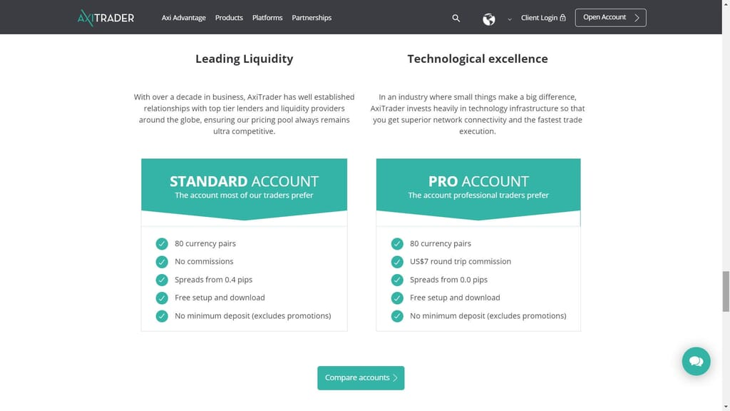 axitrader account comparison webpage
