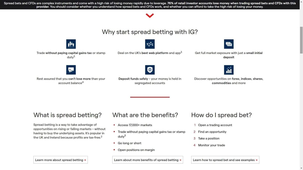 ig markets spread betting features webpage