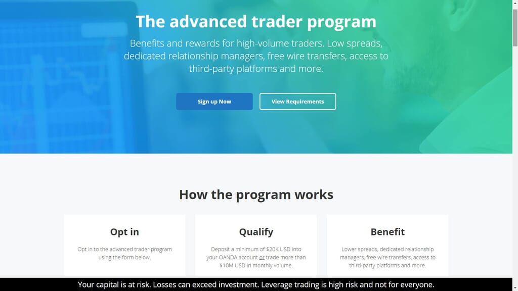 Oanda advanced trader features webpage