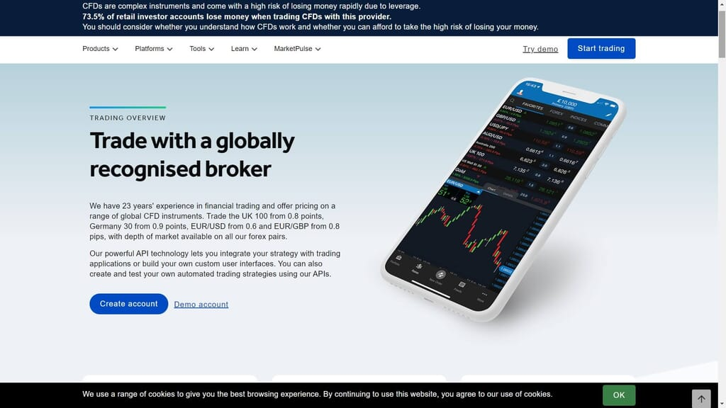 Oanda trading features webpage