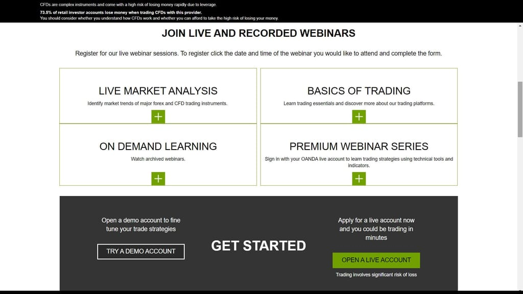 Oanda webinars and lessons available