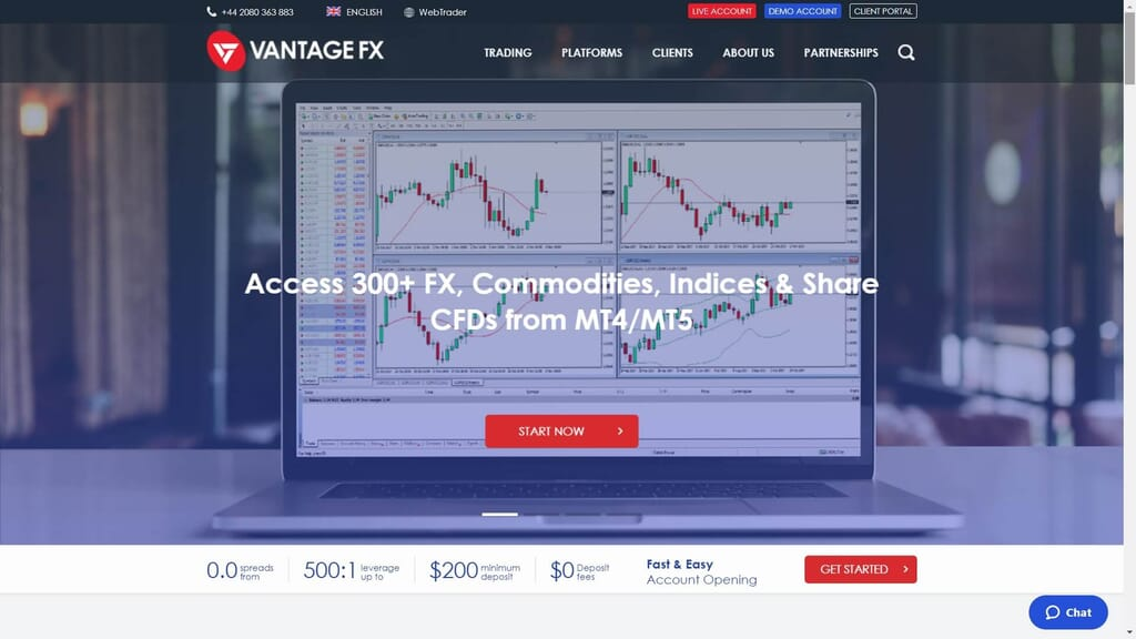 vantage fx website homepage