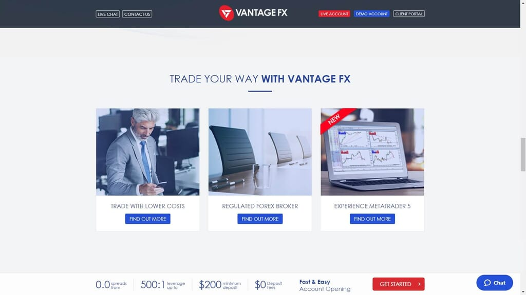 why choose vantage fx wabpage