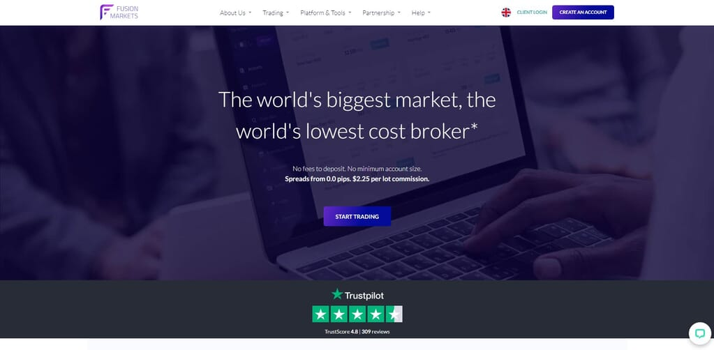 fusion markets website homepage