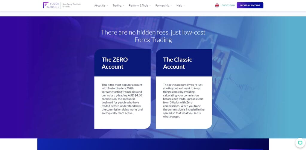 fusion markets types of account webpage