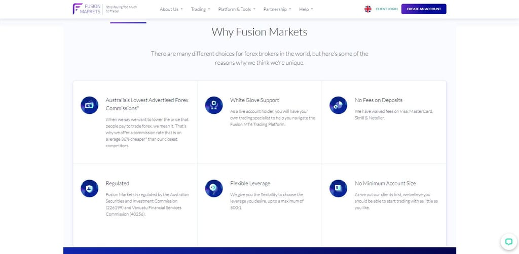 why choose fusion markets webpage