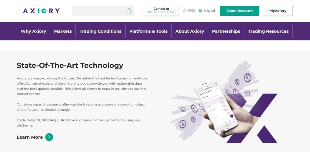Trading with a state-of-the-art technology with Axiory