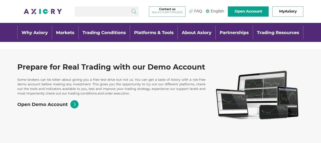 Start your trading with the Axiory demo account