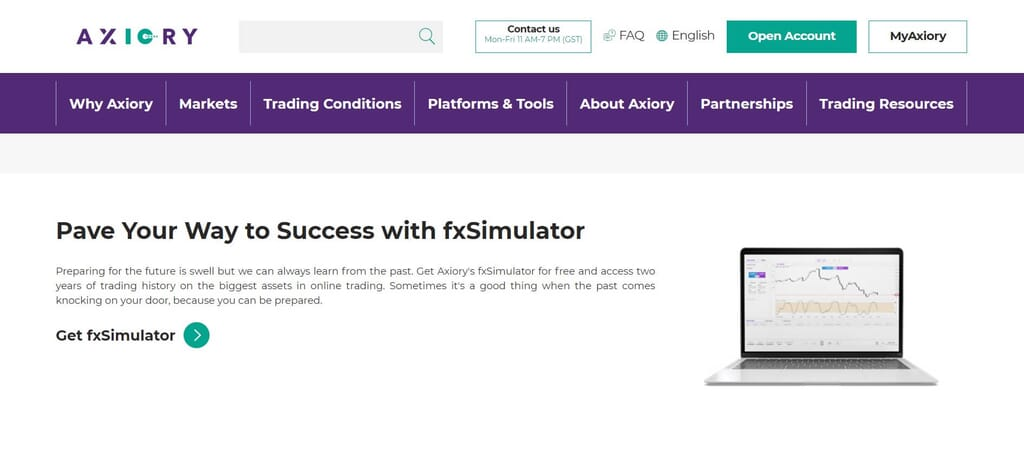 With Axiory you can access also to the fxSimulator