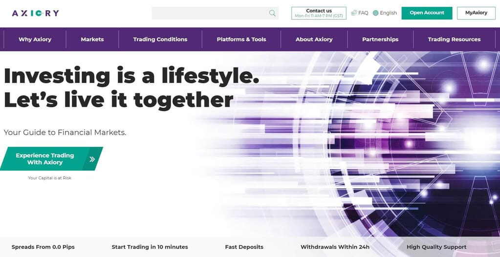 The homepage of Axiory website
