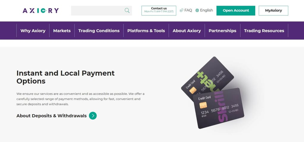 Axiory accepts different local payment options