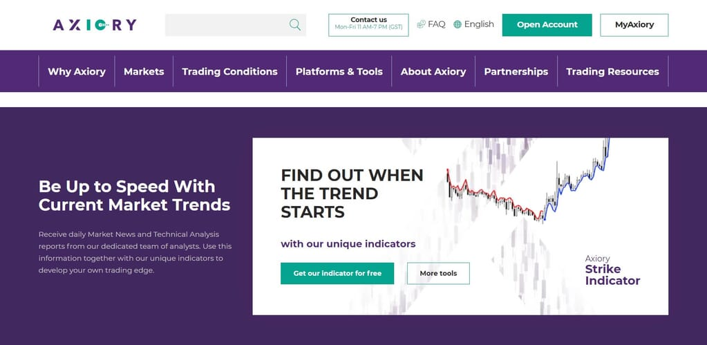 With Axiory you can also discover all the market trends
