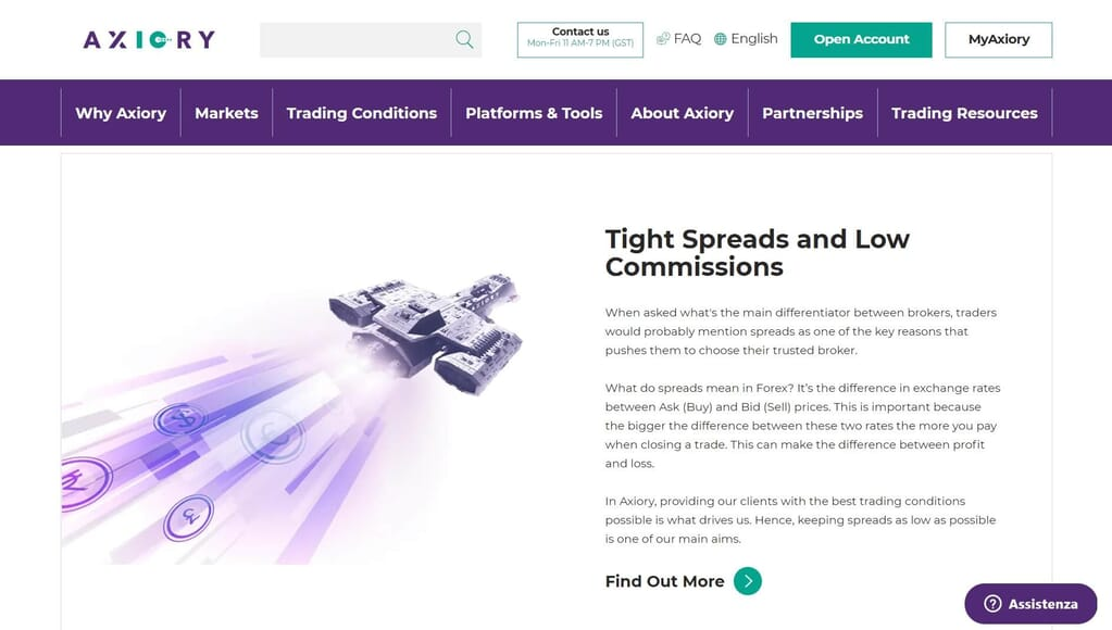 Axiory offers its clients tight spreads and low commissions