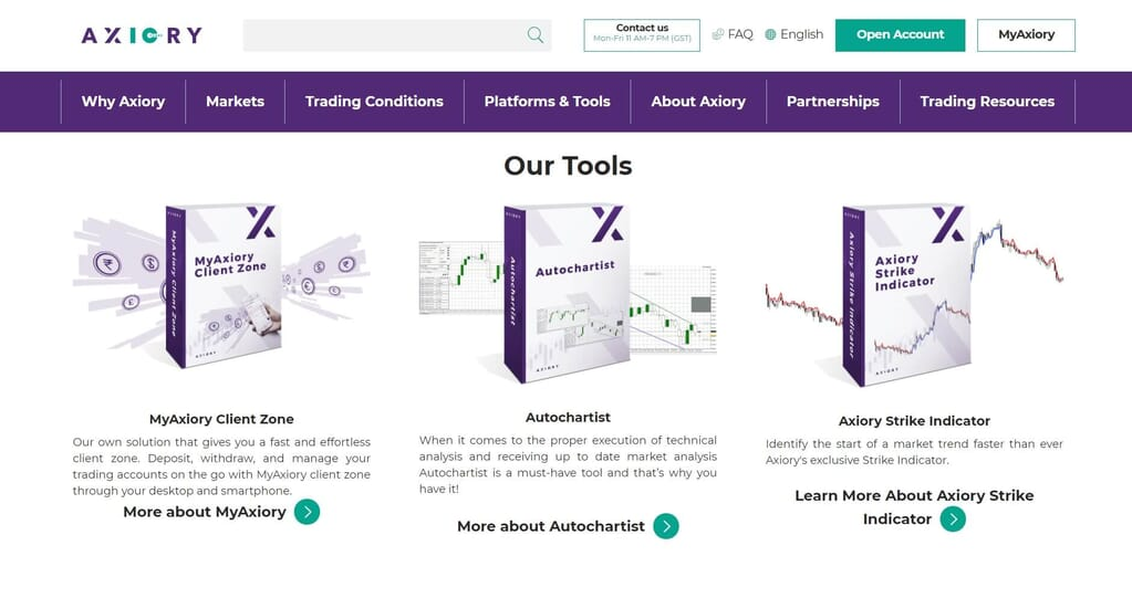 The tools Axiory make available for all its traders