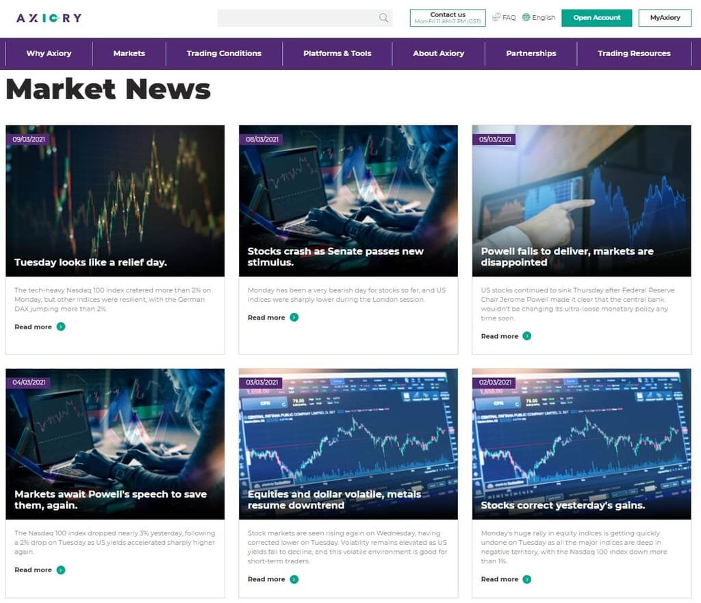 The markets news archive on Axiory