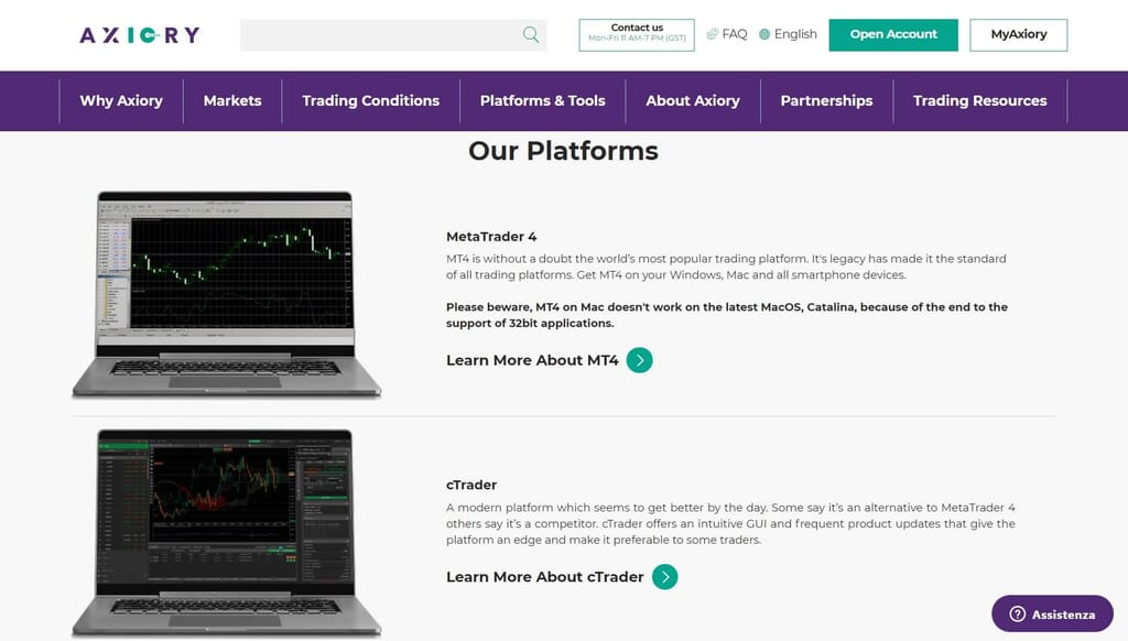 The trading platforms you have available with Axiory