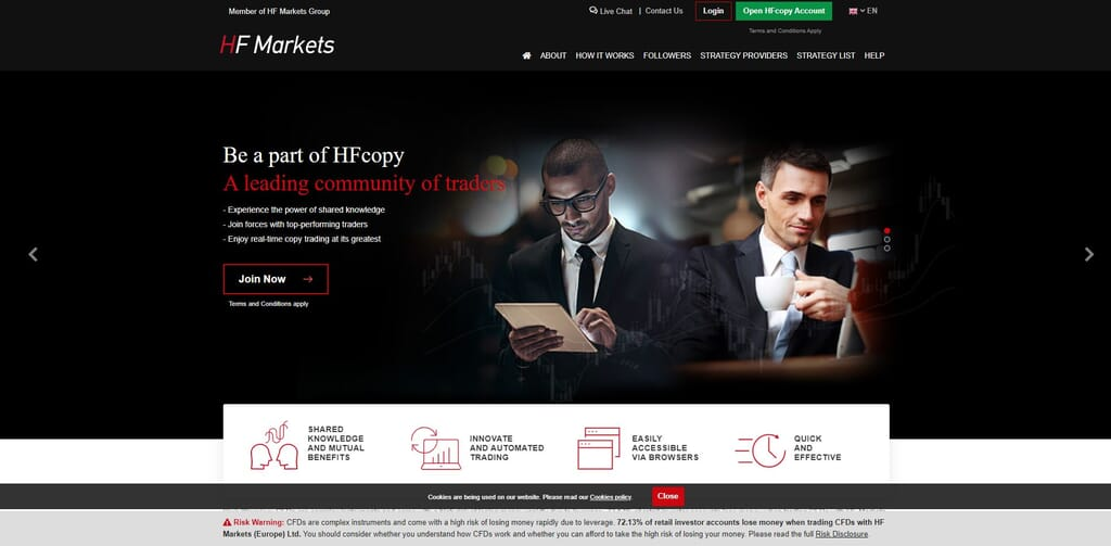 hf markets copy trading features